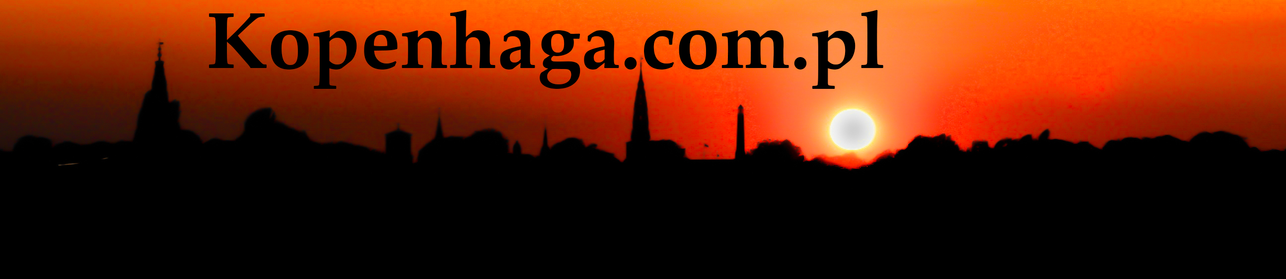 Copenhagen.com.pl bannerblack text in the background of buildings silhouettes during sunset